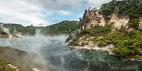 Cathedral Rocks and Frying Pan Lake, Waimangu Volcanic Valley, Central Plateau, Rotorua Region, North Island, New Zealand, NZ