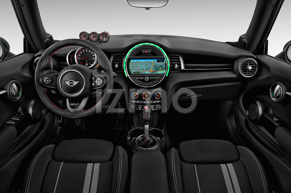 Stock photo of straight dashboard view of 2017 Mini Cooper John Cooper Works 2 Door Convertible
