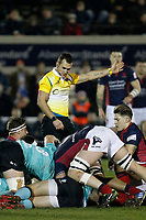 Referee, Adam Leal during the Greene King IPA Championship match between London Scottish Football Club and Nottingham Rugby at Richmond Athletic Ground, Richmond, United Kingdom on 7 February 2020. Photo by Carlton Myrie.