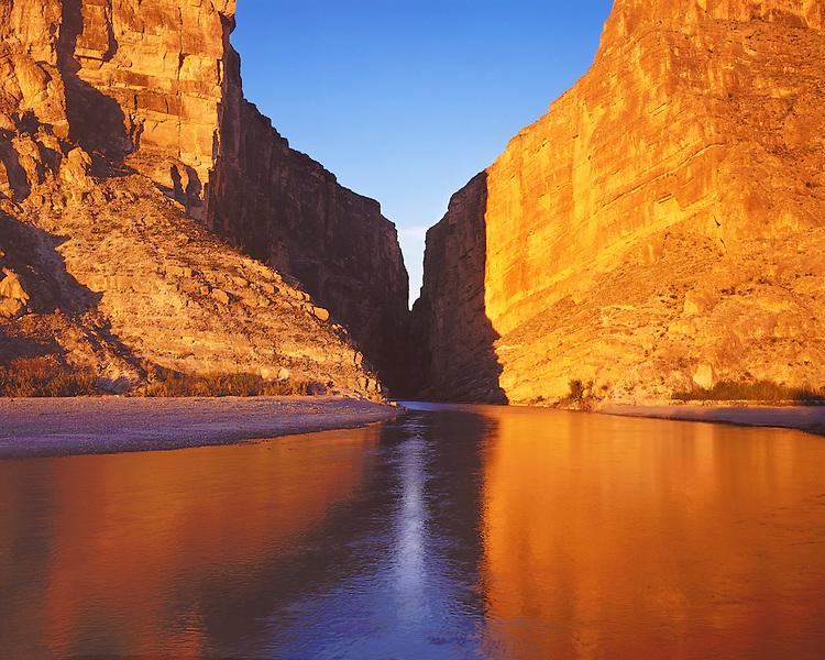 Sunrise light on Santa Elena Canyon and the Rio Grande River; Big Bend National Park, TX