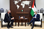 Palestinian Prime Minister Mohammed Ishtayeh meets Sweden's new Consul General Julius Lillestrom, in the West Bank city of Ramallah on October 7, 2021. Photo by Prime Minister Office