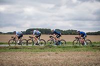 Wout van Aert (BEL/Jumbo-Visma) moving to the front in Remco Evenepoels (BEL/Deceuninck-Quick Step) wheel<br /> <br /> Elite Men World Championships - Road Race<br /> from Antwerp to Leuven (268.3km)<br /> <br /> UCI Road World Championships - Flanders Belgium 2021<br /> <br /> ©kramon