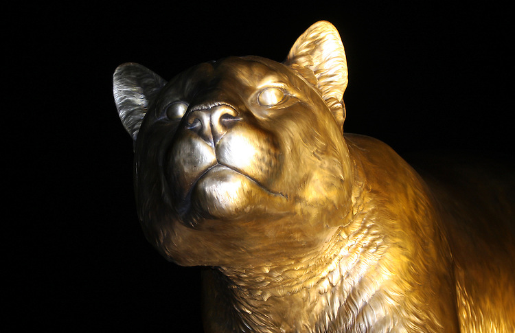 """""""Cougar Pride"""", a 15 foot tall bronze monument of a cougar, the Washington State University mascot, sculpted by artists Mike and Chester Fields, now greets fans at the entrance to Martin Stadium in Pullman, Washington."""