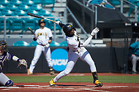 Terence Norman (6) of the Kennesaw State Owls follows through on his swing against the Western Carolina Catamounts at Springs Brooks Stadium on February 22, 2020 in Conway, South Carolina. The Owls defeated the Catamounts 12-0.  (Brian Westerholt/Four Seam Images)
