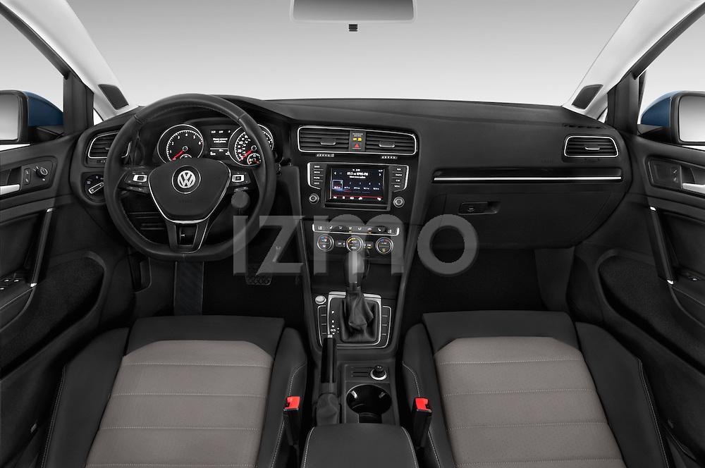 Stock photo of straight dashboard view of a 2015 Volkswagen Golf SEL 4-door TSI  Auto PZEV 4 Door Hatchback Dashboard
