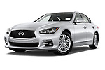Stock pictures of low aggressive front three quarter view of 2017 Infiniti Q50 Hybrid-Premium 4 Door Sedan Low Aggressive