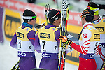 HOLMENKOLLEN, OSLO, NORWAY - March 16: (L-R) Taihei Kato of Japan (JPN), Akito Watabe of Japan (JPN), Wilhelm Denifl of Austria (AUT) and Jason Lamy Chappuis of France (FRA) after the cross country 15 km (2 x 7.5 km) competition at the FIS Nordic Combined World Cup on March 16, 2013 in Oslo, Norway. (Photo by Dirk Markgraf)