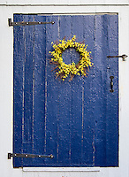 Simple flower wreath on rustic blue door.