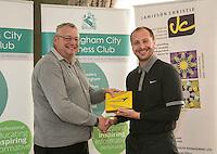 Longest Drive sponsor Jamieson Christie Wealth Managment's Richard Cooper with winner Ben Richardson