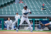 Columbus Clippers left fielder Greg Allen (1) during an International League game against the Indianapolis Indians on April 30, 2019 at Victory Field in Indianapolis, Indiana. Columbus defeated Indianapolis 7-6. (Zachary Lucy/Four Seam Images)