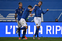 Domenico Berardi of Italy (R) celebrates with team mates after scoring the goal of 2-0 during the Uefa Nation League Group Stage A1 football match between Italy and Poland at Citta del Tricolore Stadium in Reggio Emilia (Italy), November, 15, 2020. Photo Andrea Staccioli / Insidefoto