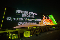 September 10, 2014,Netherlands, Amsterdam, Ziggo Dome, Davis Cup Netherlands-Croatia, light board outside de Dome<br /> Photo: Tennisimages/Henk Koster