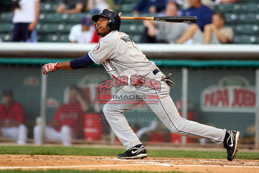 May 30, 2009:  Brandon Watson of the Reno Aces, Pacific Cost League Triple A affiliate of the Arizona Diamondbacks, during a game at the Spring Mobile Ballpark in Salt Lake City, UT.  Photo by:  Matthew Sauk/Four Seam Images