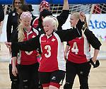 Whitney Bogart, Toronto 2015 - Goalball.<br /> Canada's women's Goalball team celebrates after winning the bronze medal // L'équipe féminine de goalball du Canada célèbre après avoir remporté la médaille de bronze. 14/08/2015.