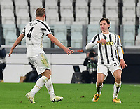 Calcio, Serie A: Juventus - Atalanta, Turin, Allianz Stadium, December 16, 2020.<br /> Juventus' Federico Chiesa (r) celebrates after scoring with his teammate Matthijs de Ligt during the Italian Serie A football match between Juventus and Atalanta at the Allianz stadium in Turin,  December 16, 2020.<br /> UPDATE IMAGES PRESS/Isabella Bonotto