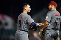 Lehigh Valley IronPigs third baseman Damek Tomscha (47) with Dean Anna (8) during a game against the Rochester Red Wings on June 30, 2018 at Frontier Field in Rochester, New York.  Lehigh Valley defeated Rochester 6-2.  (Mike Janes/Four Seam Images)