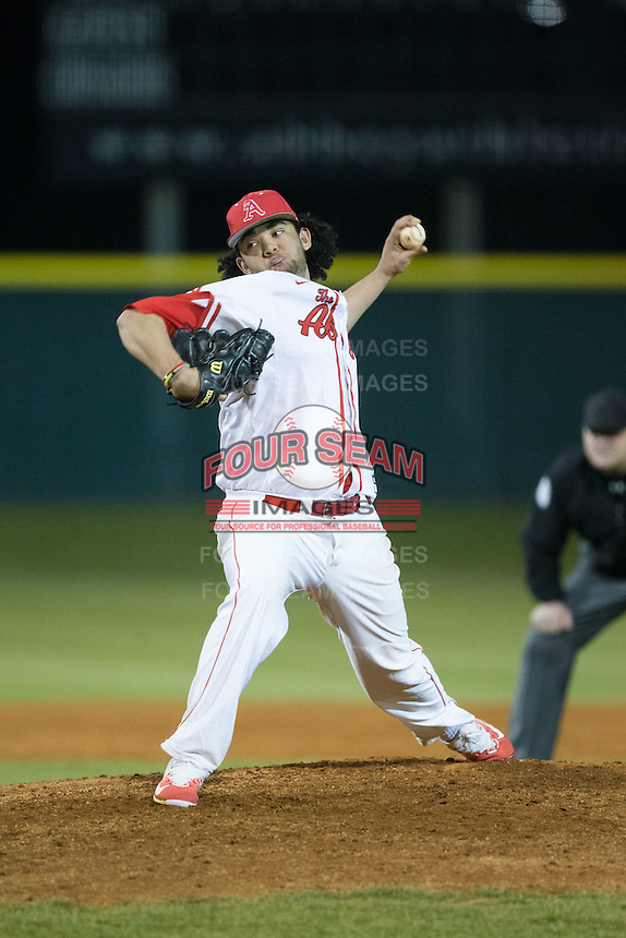 Belmont Abbey Crusaders relief pitcher Griffin Baker (44) in action against the Catawba Indians at Abbey Yard on February 7, 2017 in Belmont, North Carolina.  The Crusaders defeated the Indians 12-9.  (Brian Westerholt/Four Seam Images)