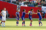 Women's Japan National team group line-up (JPN), JULY 1, 2015 - Football / Soccer : Japan team celebrates after the game during the FIFA Women's World Cup Canada 2015 Semi-final match between Japan and England at Commonwealth Stadium in Edmonton, Canada. (Photo by Yusuke Nakanishi/AFLO SPORT)