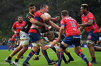 Alex Ainley is tackled during the Mitre 10 Cup rugby match between Wellington Lions and Tasman Makos at Jerry Collins Stadium in Wellington, New Zealand on Saturday, 31 October 2020. Photo: Dave Lintott / lintottphoto.co.nz