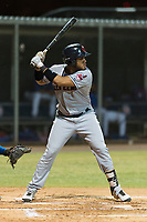 AZL Indians 2 left fielder Cristopher Cespedes (30) at bat during an Arizona League game against the AZL Cubs 2 at Sloan Park on August 2, 2018 in Mesa, Arizona. The AZL Indians 2 defeated the AZL Cubs 2 by a score of 9-8. (Zachary Lucy/Four Seam Images)