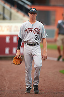 Tri-City ValleyCats pitcher Trent Thornton (31) walks to the dugout before a game against the Aberdeen Ironbirds on August 6, 2015 at Ripken Stadium in Aberdeen, Maryland.  Tri-City defeated Aberdeen 5-0 in a combined no-hitter.  (Mike Janes/Four Seam Images)