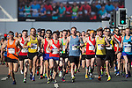 © Joel Goodman - 07973 332324 . 10/04/2016 . Manchester , UK . Start of the 40th Greater Manchester Marathon on Chester Road. Photo credit : Joel Goodman