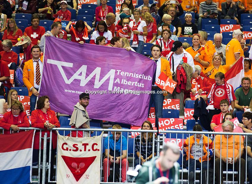 Switserland, Genève, September 19, 2015, Tennis,   Davis Cup, Switserland-Netherlands, Doubles: Dutch supporters<br /> Photo: Tennisimages/Henk Koster