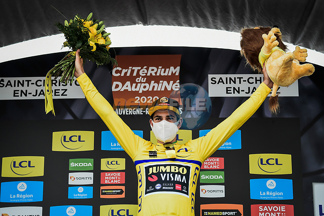 Wout Van Aert (BEL) Team Jumbo-Visma wins Stage 1 and wears the first Yellow Jersey of Criterium du Dauphine 2020, running 2185km from Clermont-Ferrand to Saint-Christo-en-Jarez, France. 12th August 2020.<br /> Picture: ASO/Alex Broadway | Cyclefile<br /> All photos usage must carry mandatory copyright credit (© Cyclefile | ASO/Alex Broadway)