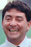 NEW ORLEANS, LA - Owner Eddie Debartolo of the San Francisco 49ers smiles after his team won Super Bowl XXIV against the Denver Broncos at the Superdome in New Orleans, Louisiana on January 28, 1990. Photo by Brad Mangin.
