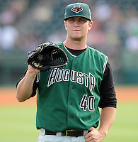 June 5, 2008: LHP Daniel Runzler (40) of the Augusta GreenJackets, Class A affiliate of the San Francisco Giants, prior to a game against the Greenville Drive at Fluor Field at the West End in Greenville, S.C. Photo by:  Tom Priddy/Four Seam Images