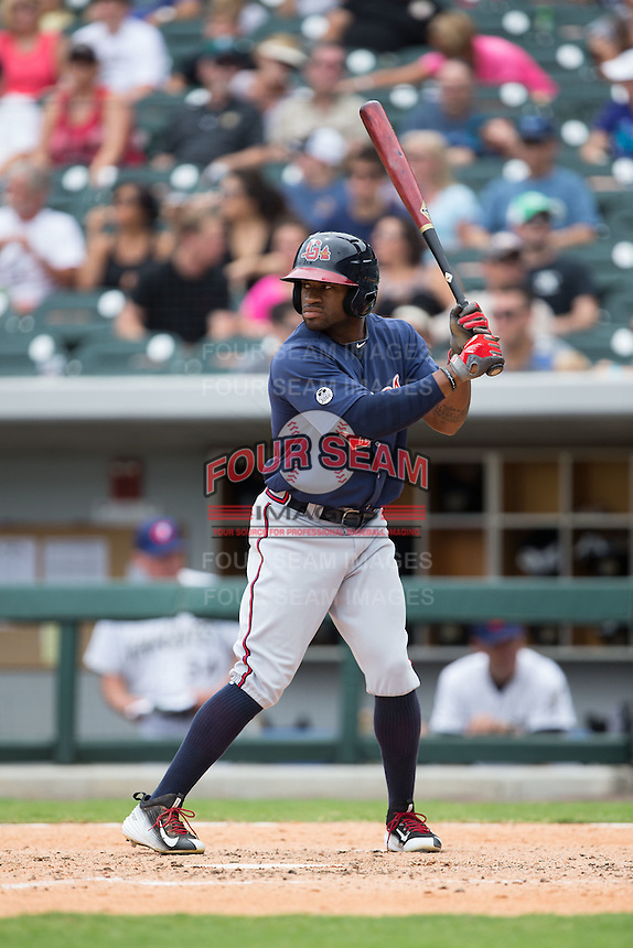 Eric Young Jr. (14) of the Gwinnett Braves at bat against the Charlotte Knights at BB&T BallPark on July 3, 2015 in Charlotte, North Carolina.  The Braves defeated the Knights 11-4 in game one of a day-night double header.  (Brian Westerholt/Four Seam Images)