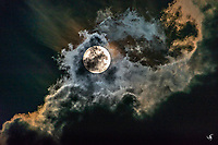 Painting-like scenes of a full Moon and clouds.
