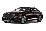Stock pictures of low aggressive front three quarter view of 2021 Genesis G80 - 4 Door Sedan Low Aggressive