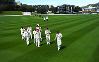 The Canterbury team walk in after dismissing the Firebirds for 65 (first innings) during day two of the Plunket Shield match between the Wellington Firebirds and Canterbury at Basin Reserve in Wellington, New Zealand on Tuesday, 20 October 2020. Photo: Dave Lintott / lintottphoto.co.nz