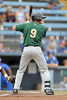 Savannah Sand Gnats center fielder Brandon Nimmo #9 awaits a pitch during a game against the Asheville Tourists at McCormick Field on July 30, 2013 in Asheville, North Carolina. The Sand Gnats won the game 9-5. (Tony Farlow/Four Seam Images)