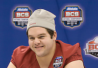 William Vlachos of Alabama smiles while talking with the reporters during BCS Media Day at Mercedes-Benz Superdome in New Orleans, Louisiana on January 6th, 2012.