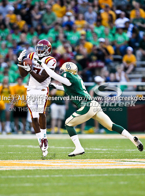 Iowa State Cyclones wide receiver Darius Reynolds (7) and Baylor Bears cornerback Chance Casey (9)in action during the game between the Iowa State Cyclones and the Baylor Bears at the Floyd Casey Stadium in Waco, Texas. Baylor defeats Iowa State 49 to 26.