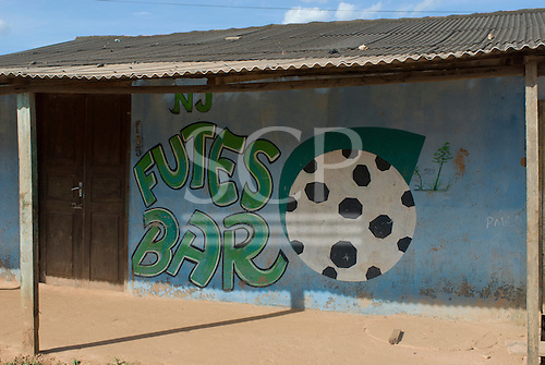 Pará State, Brazil. São Félix do Xingu. Futes Bar, football theme.