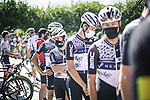 Team Qhubeha NextHash at sign on before the start of Stage 16 of La Vuelta d'Espana 2021, running 180km from Laredo to Santa Cruz de Bezana, Spain. 31st August 2021.     <br /> Picture: Charly Lopez/Unipublic   Cyclefile<br /> <br /> All photos usage must carry mandatory copyright credit (© Cyclefile   Unipublic/Charly Lopez)
