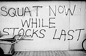 Graffiti on empty proprties in Great Western Road, 1976.