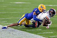Pitt defensive back Damar Hamlin tackles Virginia wide receiver Joe Reed. The Virginia Cavaliers defeated the Pitt Panthers 30-14 in a football game at Heinz Field, Pittsburgh, Pennsylvania on August 31, 2019.