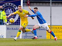 18th April 2021; Stair Park, Stranraer, Dumfries, Scotland; Scottish Cup Football, Stranraer versus Hibernian; Ryan Porteous of Hibernian gets away from Darryl Duffy of Stranraer