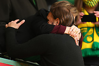 1st May 2021; Carrow Road, Norwich, Norfolk, England, English Football League Championship Football, Norwich versus Reading; Norwich City Manager Daniel Farke embraces Delia Ann Smith CH CBE after winning the EFL championship