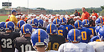 WATERTOWN, CT- 25 AUGUST 2012 082512JW04- Gilbert-Northwestern football coach Scott Salius and Watertown coach Mike Veronneau talk to their teams before the start of a scrimmage Saturday morning at Watertown..Jonathan Wilcox Republican American..