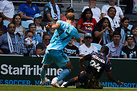 ST PAUL, MN - JULY 18: Chase Gasper #77 of Minnesota United FC and Jimmy Medranda #94 of the Seattle Sounders FC battle for the ball during a game between Seattle Sounders FC and Minnesota United FC at Allianz Field on July 18, 2021 in St Paul, Minnesota.