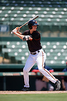 GCL Orioles Mason Janvrin (2) bats during a Gulf Coast League game against the GCL Red Sox on July 29, 2019 at Ed Smith Stadium in Sarasota, Florida.  GCL Red Sox defeated the GCL Pirates 9-1.  (Mike Janes/Four Seam Images)