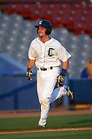Connecticut Tigers catcher Shane Zeile (59) scores a run during the first game of a doubleheader against the Brooklyn Cyclones on September 2, 2015 at Senator Thomas J. Dodd Memorial Stadium in Norwich, Connecticut.  Brooklyn defeated Connecticut 7-1.  (Mike Janes/Four Seam Images)