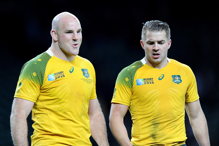 Stephen Moore of Australia shows his relief at qualifying for the Final with Drew Mitchell of Australia during the Semi Final of the Rugby World Cup 2015 between Argentina and Australia - 25/10/2015 - Twickenham Stadium, London<br /> Mandatory Credit: Rob Munro/Stewart Communications