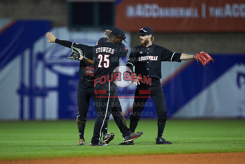 Josh Stowers (25) of the Louisville Cardinals dabs after defeating the Notre Dame Fighting Irish in Game Eight of the 2017 ACC Baseball Championship at Louisville Slugger Field on May 25, 2017 in Louisville, Kentucky. The Cardinals defeated the Fighting Irish 10-3. (Brian Westerholt/Four Seam Images)