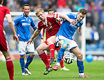 St Johnstone v Aberdeen...13.04.14    William Hill Scottish Cup Semi-Final, Ibrox<br /> Steven MacLean and Barry Robson<br /> Picture by Graeme Hart.<br /> Copyright Perthshire Picture Agency<br /> Tel: 01738 623350  Mobile: 07990 594431